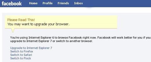 Facebook IE6 Message