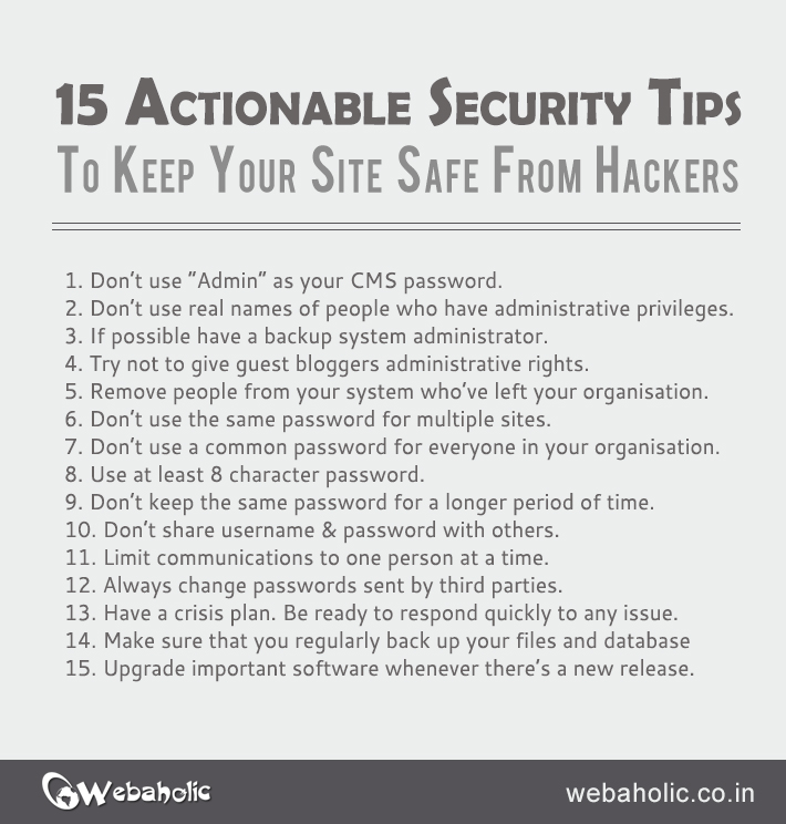 15 actionable security tips to keep your site safe from hackers