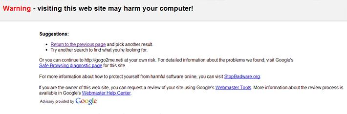 Google warning for affected sites