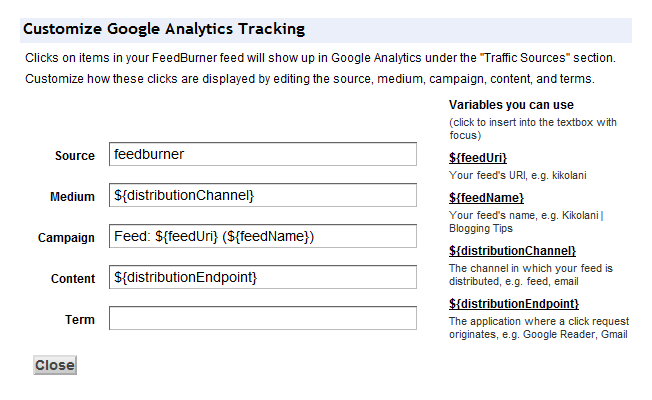 Google Analytics Tracking Feedburner Configuration