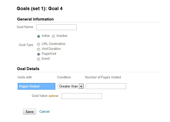 Pages Per Visit Goal - Google Analytics