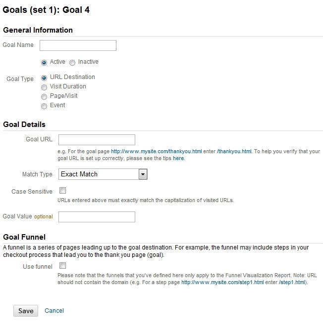 URL Destination Goal - Google Analytics