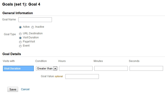 Visit Duration Goal - Google Analytics