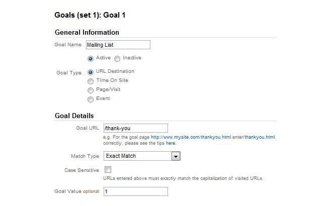 Google Analytics 5 URL Destination Goal Setup