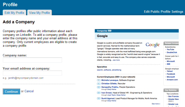 Add your company to LinkedIn