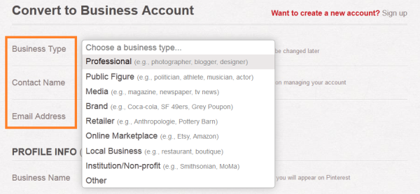 Choose Your Business Type on Pinterest