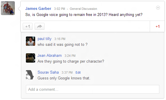 Google+ Communities Discussions