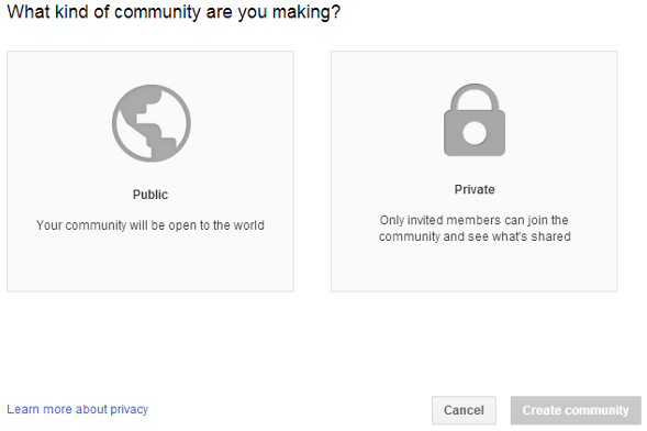 Google+ community setup public / private