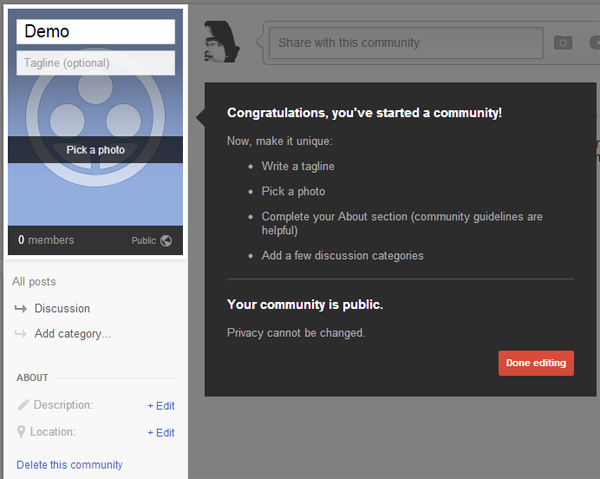 Google+ Community Setup