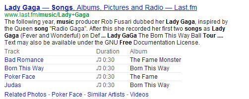 Rich Snippets in SERPs for Music