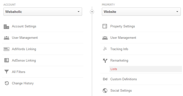 Create a Google Analytics remarketing list from within the admin section.