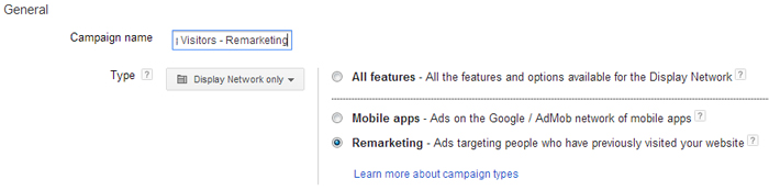 Name AdWords remarketing campaign.